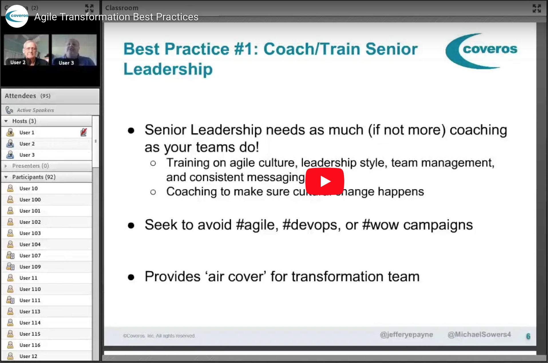 Agile Transformation Best Practices webinar